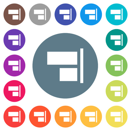 Align to right flat white icons on round color backgrounds. 17 background color variations are included.