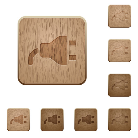 Power plug on rounded square icons vector set