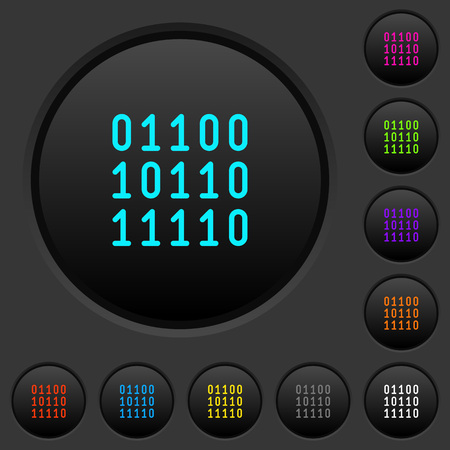 Binary code in dark push buttons with vivid colored icons vector set