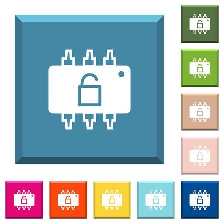 Hardware unlocked white icons vector set