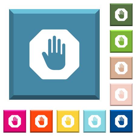 Achthoek gevormde stopbord witte pictogrammen vector set