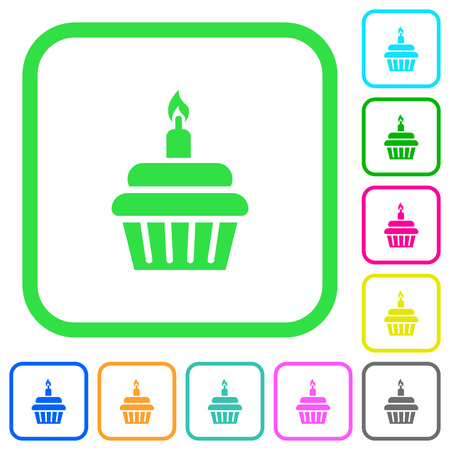 Birthday cupcake vivid colored flat icons in curved borders on white background Illustration