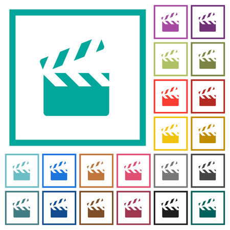 Clapperboard flat colored icons vector set Illustration