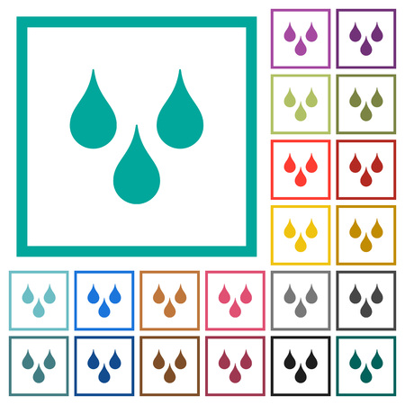 Water drops flat colored icons vector set