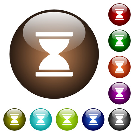 Hourglass white icons on round color glass buttons