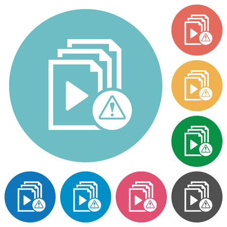 Playlist warning flat white icons on round color backgrounds Stock Illustratie