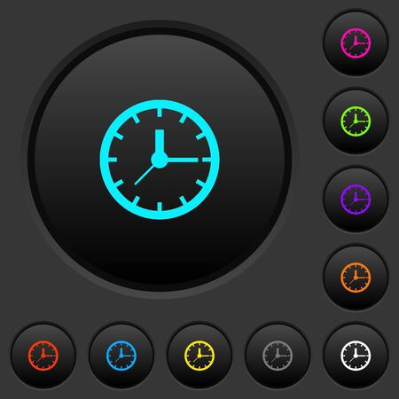 An Analog clock dark push buttons with vivid color icons on dark grey background Illustration