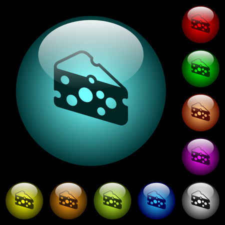 Slice of cheese icons in color illuminated spherical glass buttons on black background. Can be used to black or dark templates