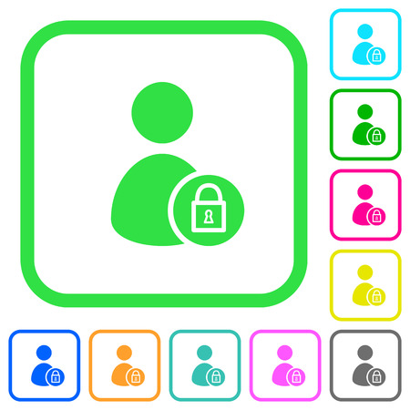 Lock user account vivid colored flat icons in curved borders on white background