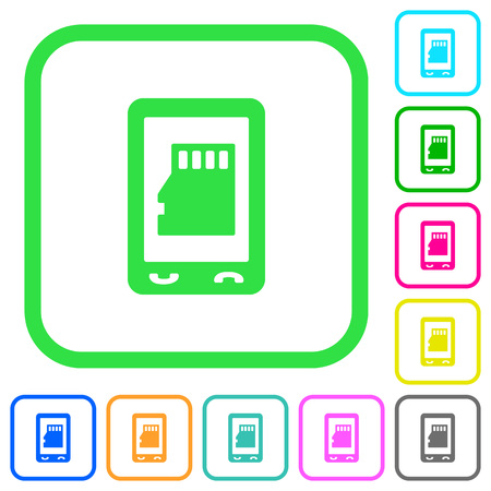 Mobile memory card vivid colored flat icons in curved borders on white background