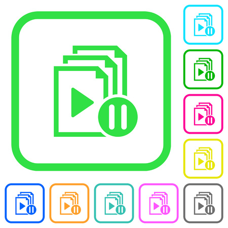 Pause playlist vivid colored flat icons in curved borders on white background Illustration