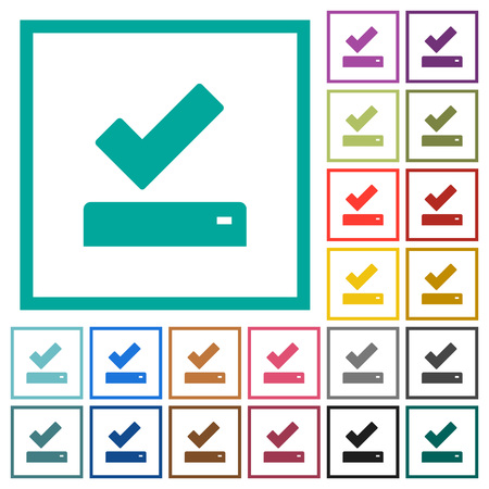 Successfully saved flat color icons with quadrant frames on white background Illusztráció