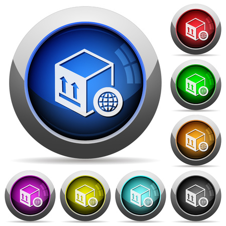 Worldwide package transportation icons in round glossy buttons with steel frames Vectores