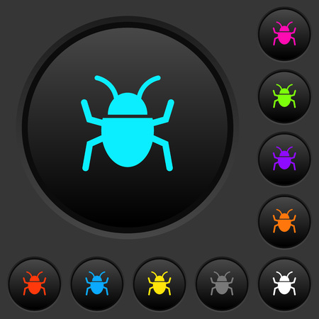 Bug dark push buttons with vivid color icons on dark grey background Illustration
