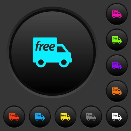 Free shipping dark push buttons with vivid color icons on dark grey background Illustration