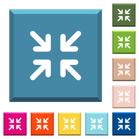 Minimize arrows white icons on edged square buttons in various trendy colors