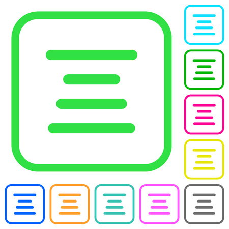 Text align center vivid colored flat icons in curved borders on white background Ilustração