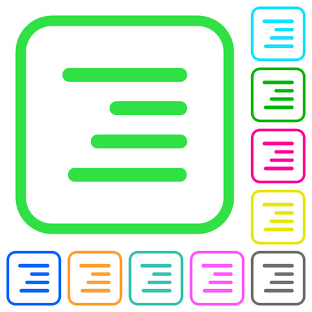 Text align right vivid colored flat icons in curved borders on white background