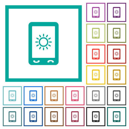 Mobile display brightness flat color icons with quadrant frames on white background