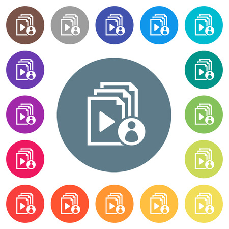 Playlist author flat white icons on round color backgrounds. 17 background color variations are included.