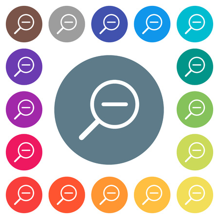 Zoom out flat white icons on round color backgrounds. 17 background color variations are included. Ilustração