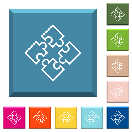 Puzzle pieces white icons on edged square buttons in various trendy colors.