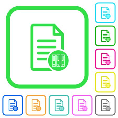 Archive document vivid colored flat icons in curved borders on white background Ilustração