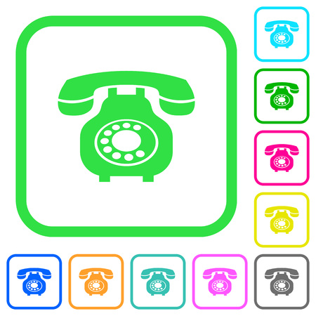 Vintage retro telephone vivid colored flat icons in curved borders on white background Illustration