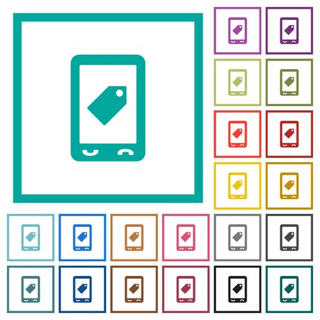 Mobile label flat color icons with quadrant frames on white background