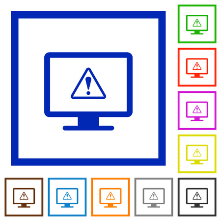 Display warning flat color icons in square frames on white background Illusztráció