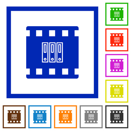 Archive movie flat color icons in square frames on white background