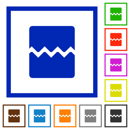 Page break flat color icons in square frames on white background. Ilustrace