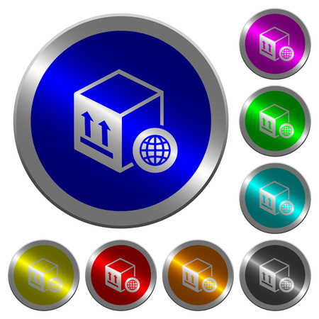 Worldwide package transportation icons on round luminous coin-like color steel buttons