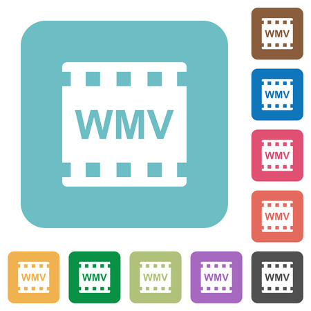 WMV movie format white flat icons on color rounded square backgrounds