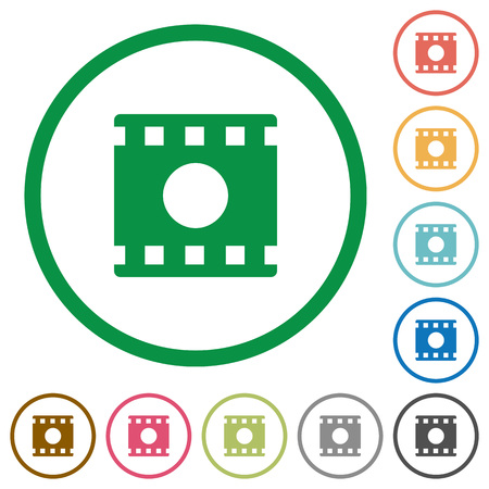 Movie record flat color icons in round outlines on white background