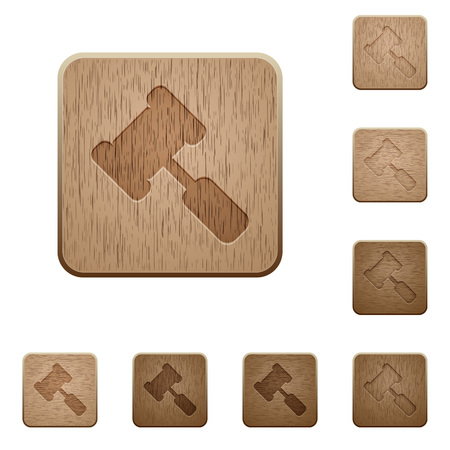 Judge hammer on rounded square carved wooden button styles Illustration