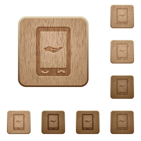 Mobile services on rounded square carved wooden button styles Ilustração
