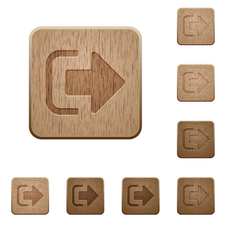 Sign out on rounded square carved wooden button styles Vectores