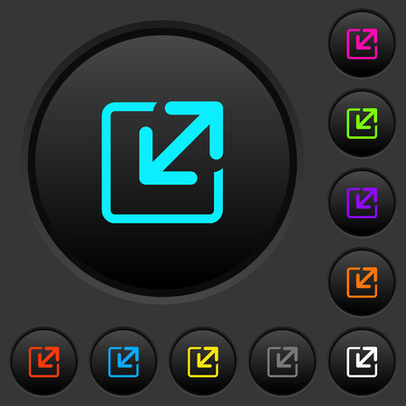 Resize window dark push buttons with vivid color icons on dark grey background Ilustração