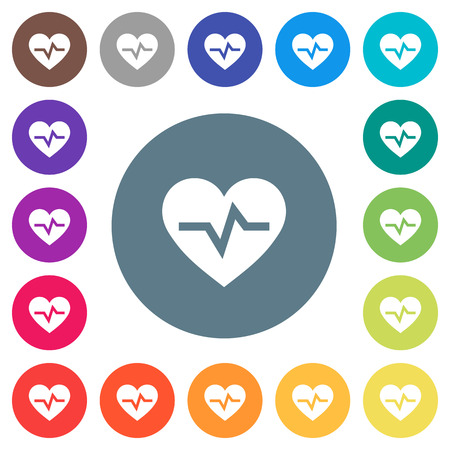 Heartbeat flat white icons on round color backgrounds. 17 background color variations are included. Illustration