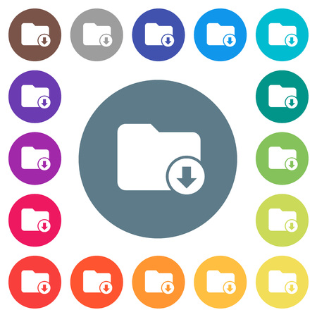 Move down directory flat white icons on round color backgrounds. 17 background color variations are included.