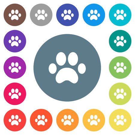 Paw prints flat white icons on round color backgrounds. 17 background color variations are included. Illustration
