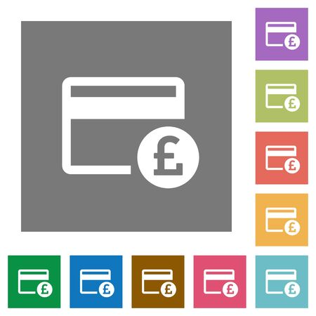 Pound credit card flat icons on simple color square backgrounds