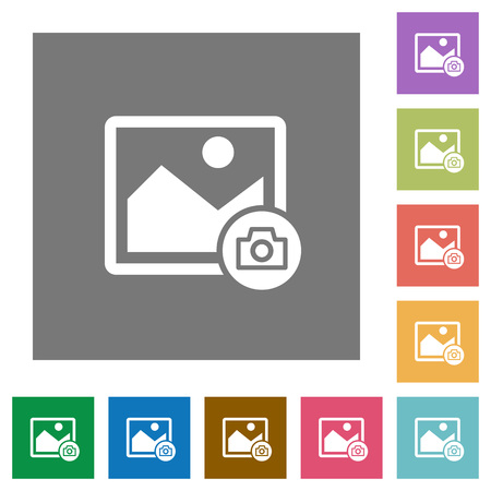 Grab image flat icons on simple color square backgrounds Çizim