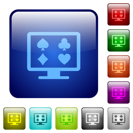 Online gambling icons in rounded square color glossy button set