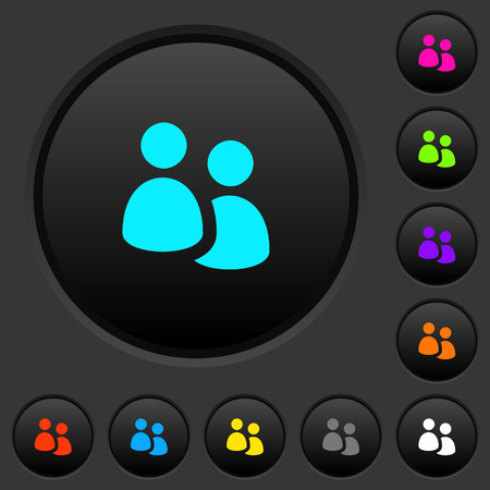 User group dark push buttons with vivid color icons on black background. Ilustrace