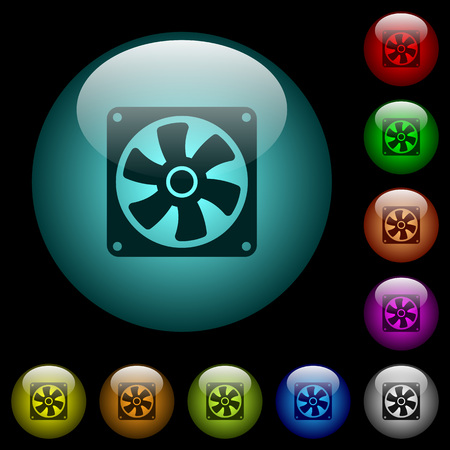 Computer fan icons in color illuminated spherical glass buttons on black background. Can be used to black or dark templates