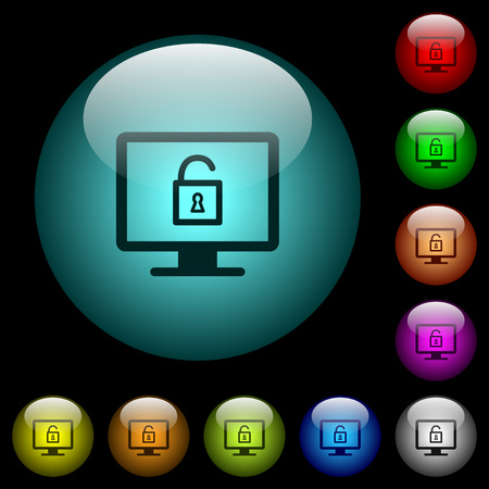 Unlock screen icons in color illuminated spherical glass buttons on black background. Can be used to black or dark templates 일러스트