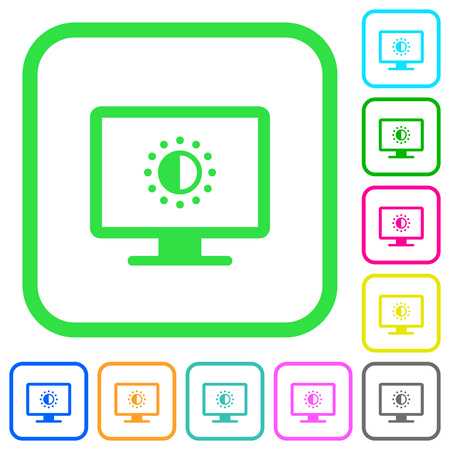 Adjust screen saturation vivid colored flat icons in curved borders on white background