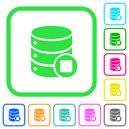 Database macro stop vivid colored flat icons in curved borders on white background